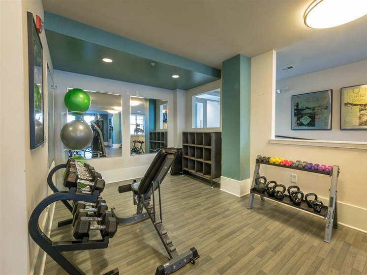 Fitness Center with Free Weights at Marquee Station, Fuquay-Varina, 27526