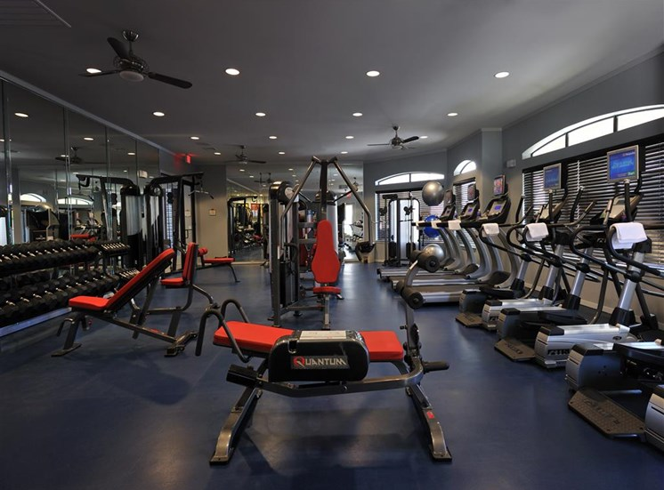 Fitness Center with Free Weights and Cardio Equipment at Falls at Eagle Creek, Humble, TX 77396