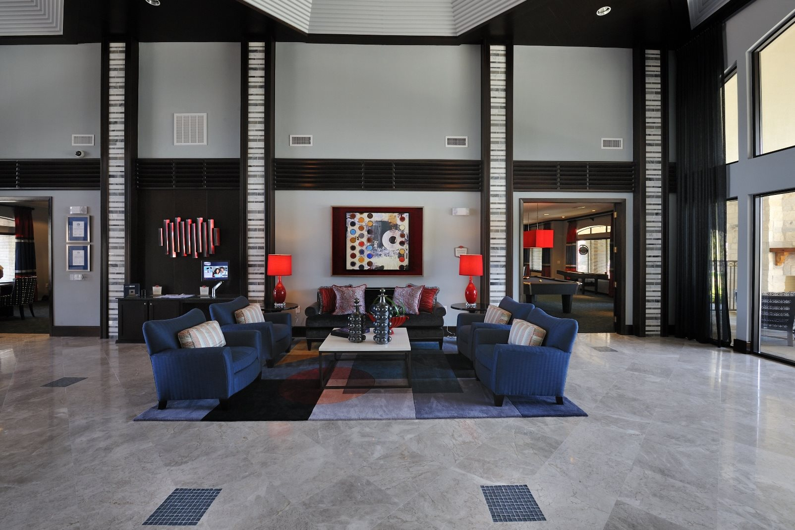 Resident Lounge with Game Tables at Falls at Eagle Creek, Humble,Texas