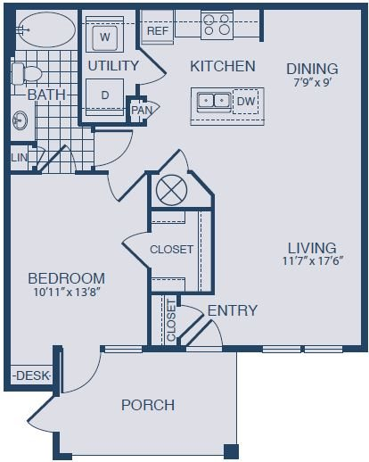 Floor plan at Yorktown Crossing, Houston, 77084