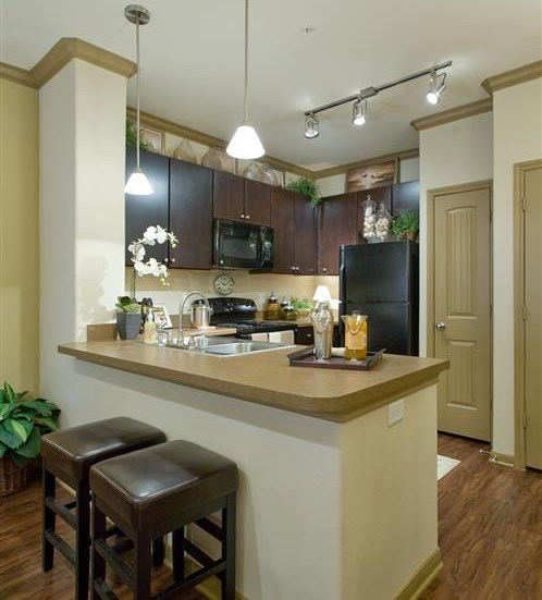 Kitchen with Separate Breakfast Bar at Yorktown Crossing, Houston,Texas