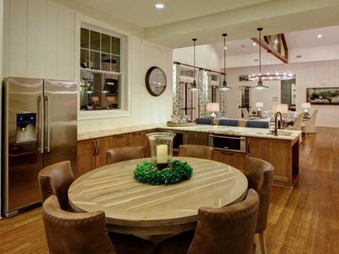 Large Interactive Clubhouse with Gourmet Demonstration Cooking Kitchen and Fireplace at Alexander Village, Charlotte, NC