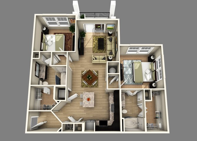 Floor plan at Alexander Village, Charlotte, NC
