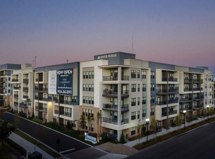 exterior building aerial shot