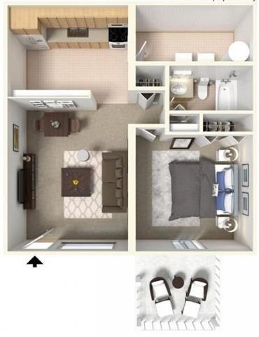 1 Bed Floor Plan 2