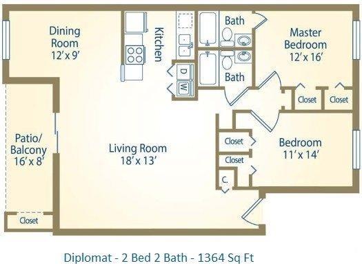 2x2 Diplomat Floor Plan 4