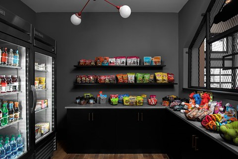 Our Clubhouse includes a Community Market with Stocked Shelfs of Snacks and Cold Drinks at Bluebird Row Southside Apartments, Chattanooga, TN 37408