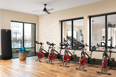 State of the Art 24 Hour Fitness Center includes Yoga & Cross Training Studios and Rock Climbing Wall at Bluebird Row Southside Apartments, Chattanooga, TN 37408