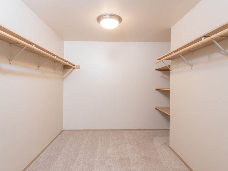 10' x 10' Walk-In Closets with Extra Shelving
