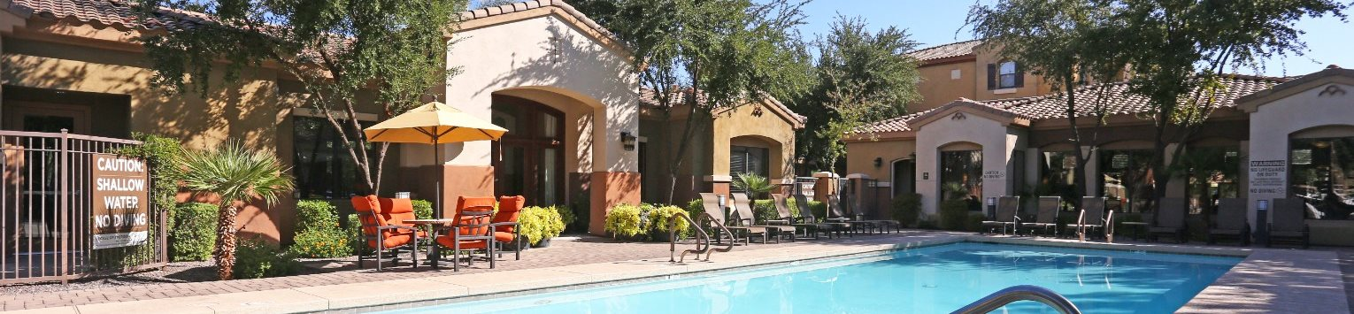 Pool & pool patio at Trails at San Tan Apartments in Gilbert, AZ