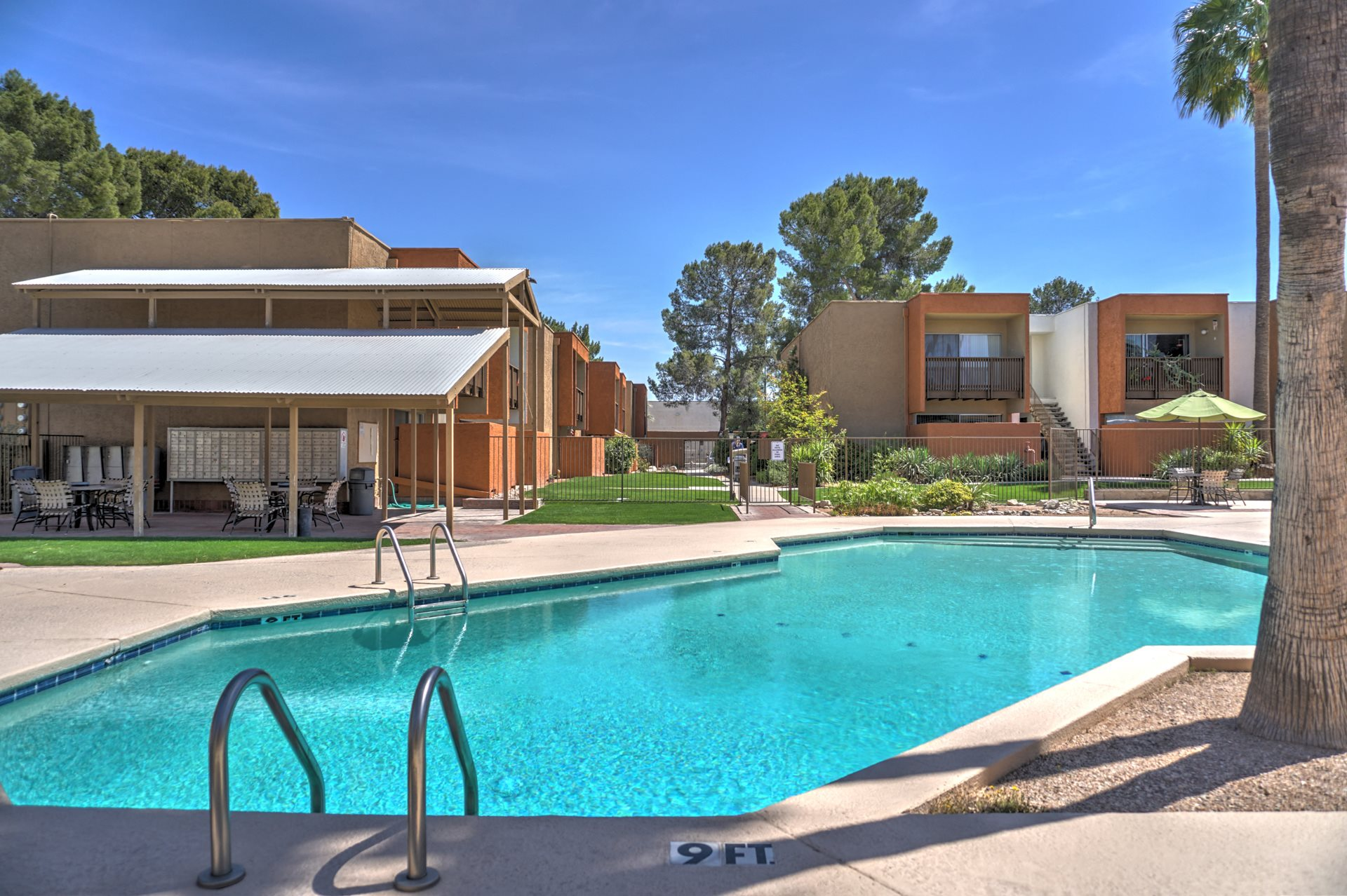Pool & pool patio at Claremont Villas Apartments in Tucson, AZ