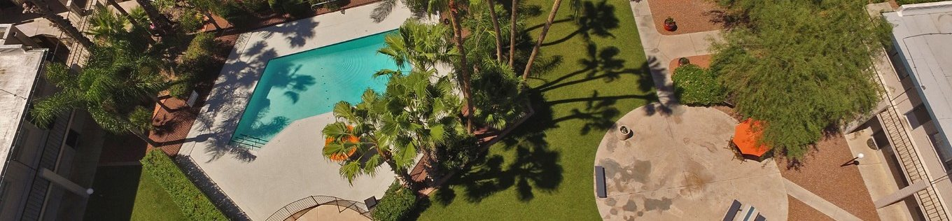 Arial view of pool pool patio and landscaping at Canyon Vista Apartments in Tucson, AZ