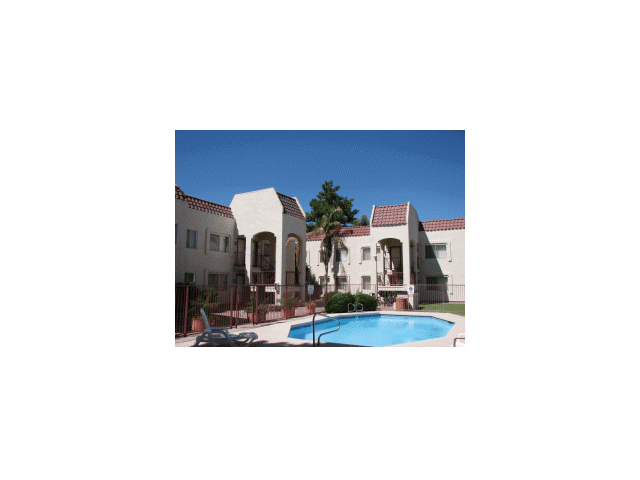 Exterior, landscaping, pool & pool patio at University Park Apartments in Tempe, AZ