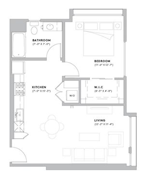 A4 - 1 Bedroom, 1 Bathroom