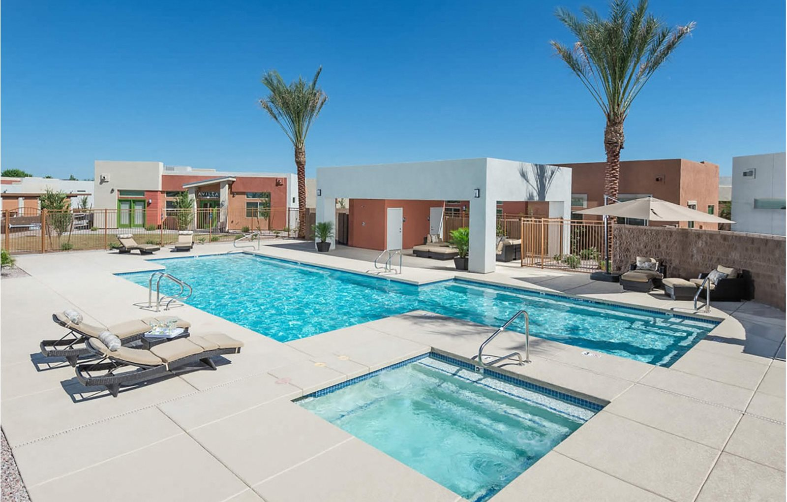 pool pool patio and spa at Casitas At San Marcos in Chandler, AZ