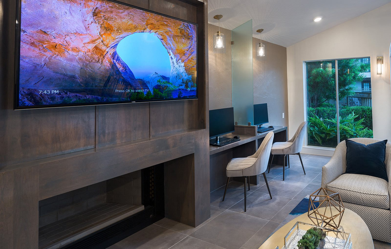business / lounge center with television