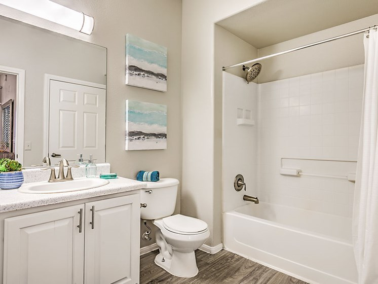 updated bathroom-white cabinets