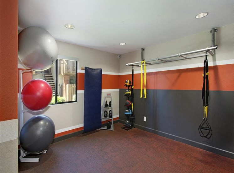 Fitness Room with resistance bands, kettle, inflatable fitness, and medicine balls