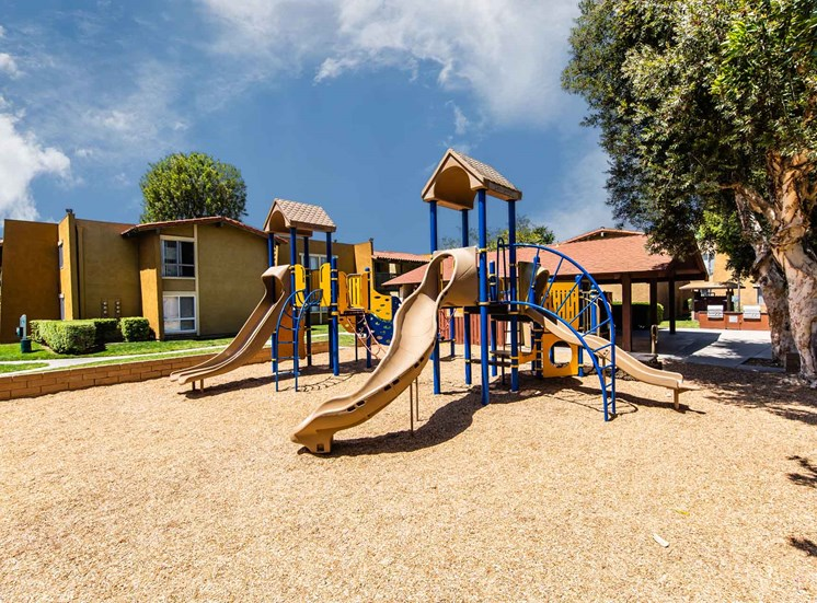 Community playground with slides and climbing bars