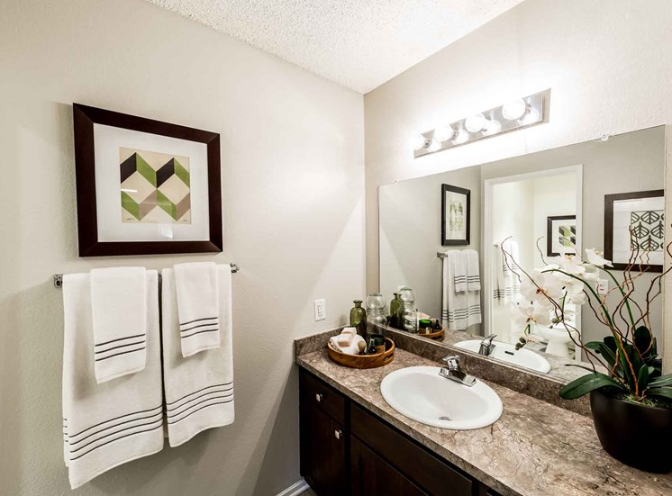 Bath Counter | Casa Grande Apartment Homes in Cypress CA