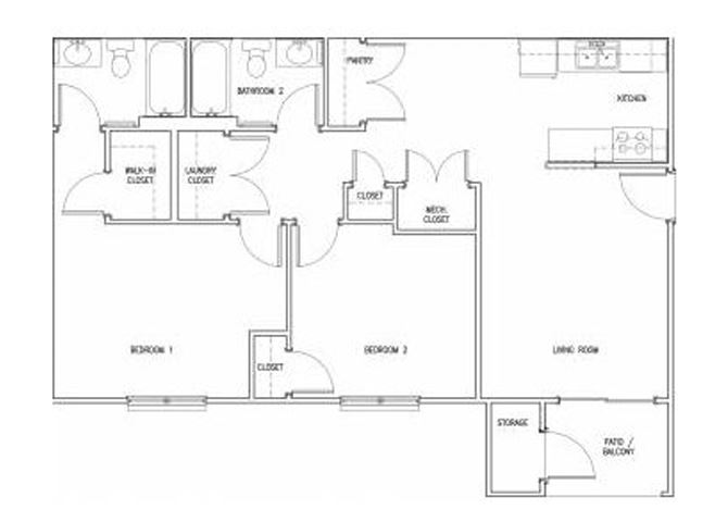 2 Bedroom 2 Bath floor plan, 952 square feet