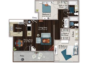 Two bedroom two bathroom B2 Floorplan at Atwood Apartments in Citrus Heights, CA