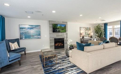 Social lounge fireplace at Bella Vista Apartments in Elk Grove CA