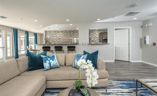 Social lounge kitchen at Bella Vista Apartments in Elk Grove CA