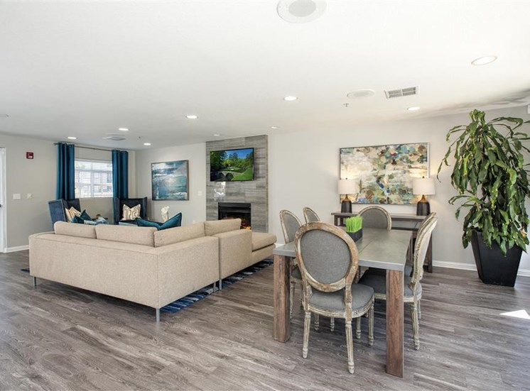 Social lounge dining table at Bella Vista Apartments in Elk Grove CA