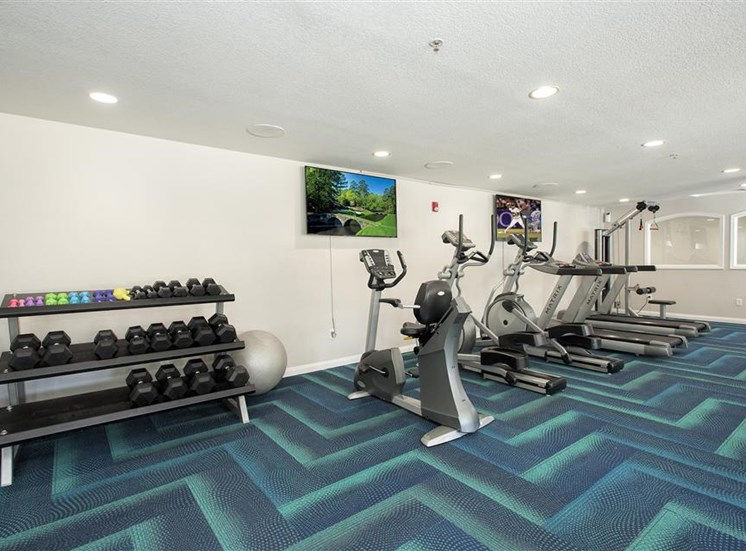 Fitness center free weights at Bella Vista Apartments in Elk Grove CA