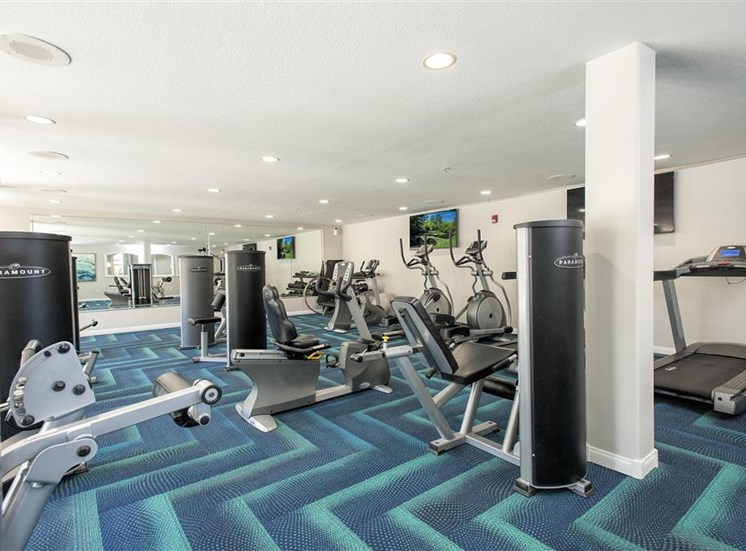 Fitness center weight machines at Bella Vista Apartments in Elk Grove CA