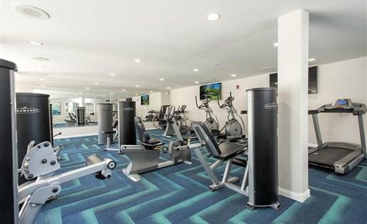Fitness center weight machines at Bella Vista Apartments in Elk Grove CA
