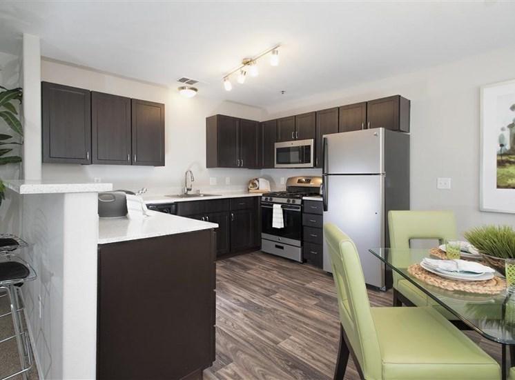 Renovated kitchen at Bella Vista Apartments in Elk Grove CA
