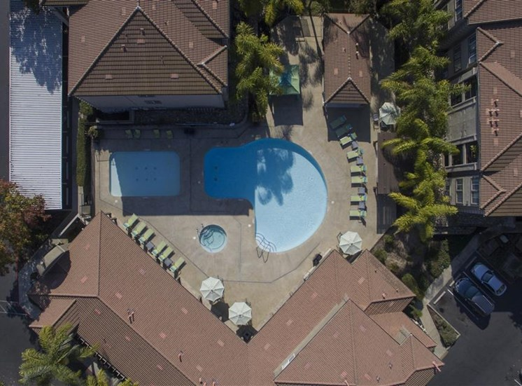 Aerial pool photo at Bella Vista Apartments in Elk Grove CA