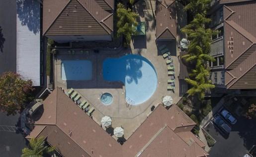 Aerial pool photo at Bella Vista Apartments in Elk Grove CA