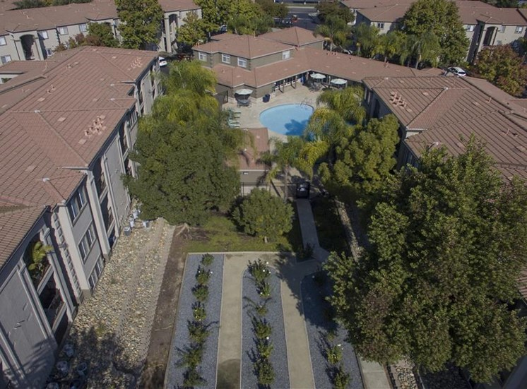Rose garden aerial photo at Bella Vista Apartments in Elk Grove CA