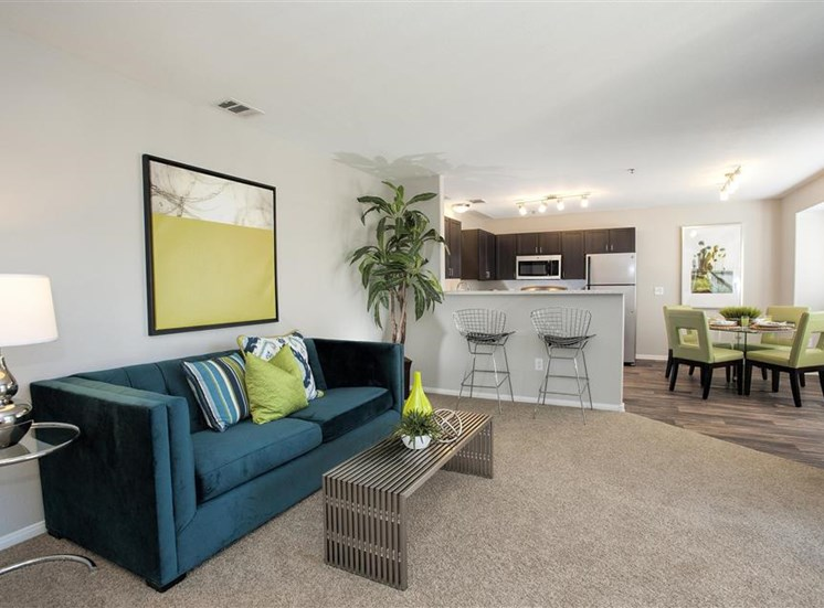 Renovated living room at Bella Vista Apartments in Elk Grove CA