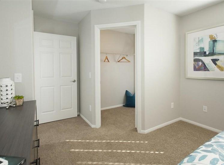 Renovated master suite closet at Bella Vista Apartments in Elk Grove CA
