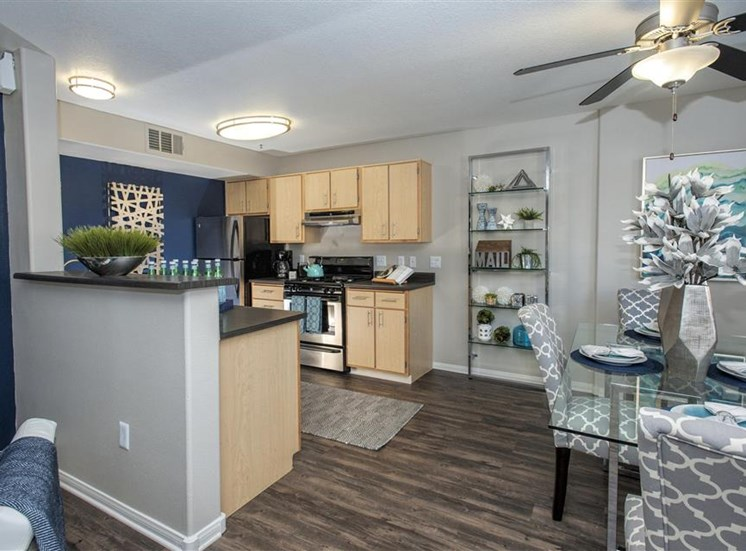 Kitchen and dining room at Bella Vista Apartments in Elk Grove CA