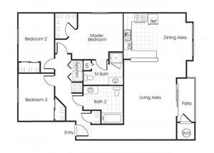 3bedroom 2 bathroom C1 floorplan at Bella Vista Apartments in Elk Grove, CA