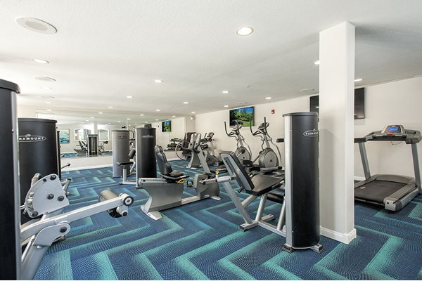 Fitness Center Weight and Cardio Machines Angled at Bella Vista Apartments in Elk Grove CA
