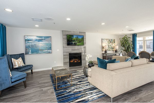 Social Lounge Seating Area and Fireplace at Bella Vista Apartments in Elk Grove CA
