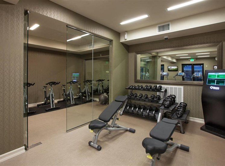 Free weights at Cerano Apartments in Milpitas CA