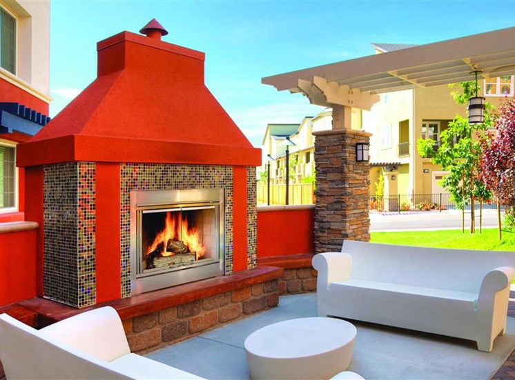 Outdoor fireplace at Cerano Apartments in Milpitas CA