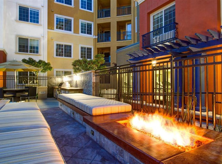 Fire table at Cerano Apartments in Milpitas CA
