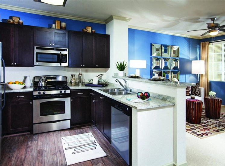 Espresso cabinets at Cerano Apartments in Milpitas CA