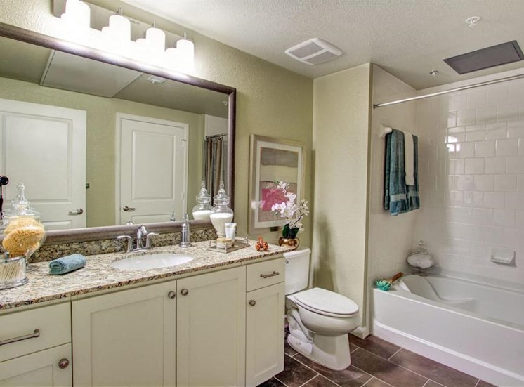 Framed bathroom mirrors at Cerano Apartments in Milpitas CA
