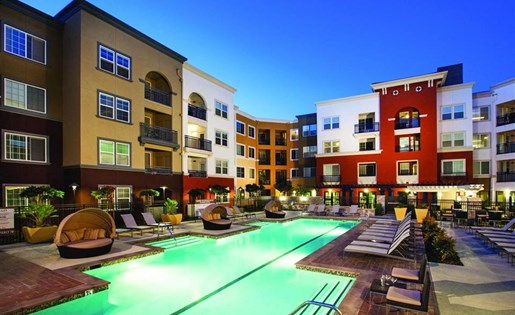 Pool at night at Cerano Apartments in Milpitas CA