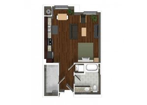 Studio one bathroom A0 floor plan at Cerano Apartments in Milpitas, CA