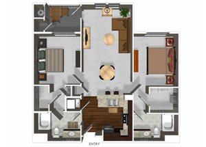 Two bedroom two bathroom B1 floor plan at Cerano Apartments in Milpitas, CA